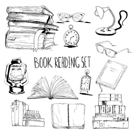 magazine stack: Books reading set with glasses lamp and clock vector illustration Illustration