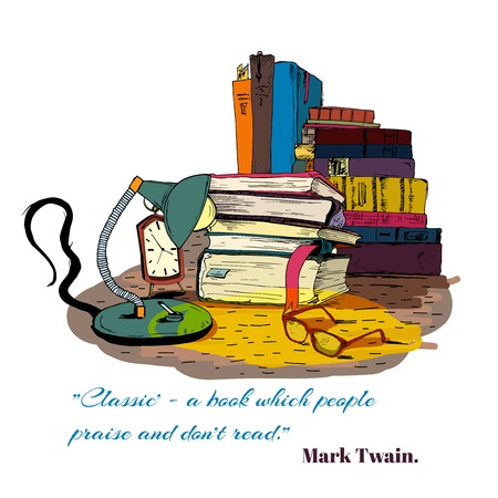 magazine stack: Books reading still life with book stacks isolated vector illustration
