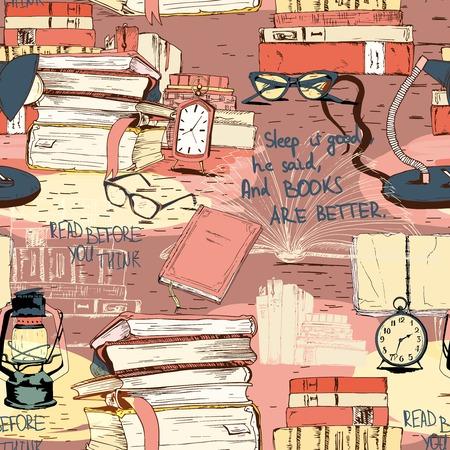 Boeken lezen naadloze achtergrond patroon vector illustratie
