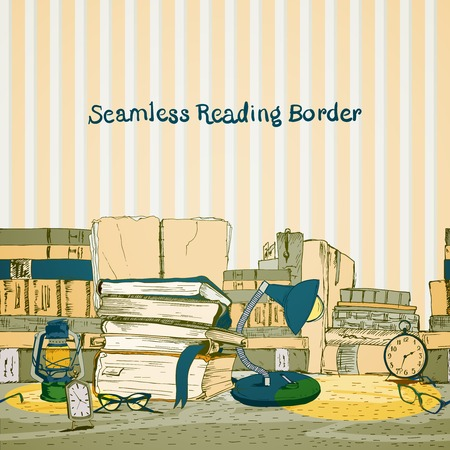 Seamless books reading border with book stacks in yellow colors vector illustration Illustration