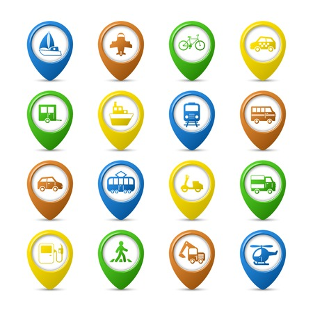 Transportation vehicles navigation pins set of car truck bus pedestrian isolated vector illustration Vector
