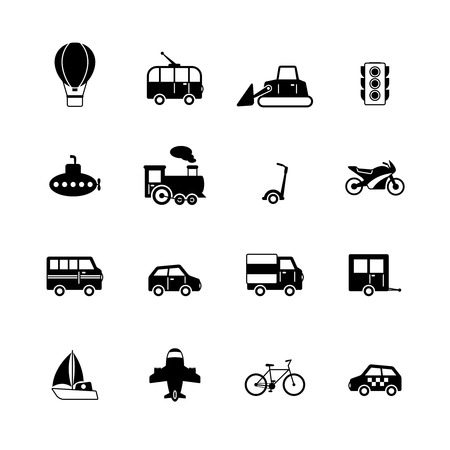 Transportation pictograms collection of passenger train tram taxi isolated vector illustration Vector