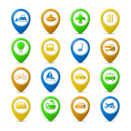 Transportation vehicles navigation pins set of passenger train tram taxi isolated vector illustration Vector