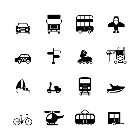 double tap: Transportation pictograms collection of aircraft boat yacht helicopter isolated vector illustration