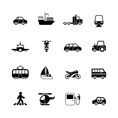 Transportation pictograms collection of tanker container tractor gas station isolated vector illustration Vector