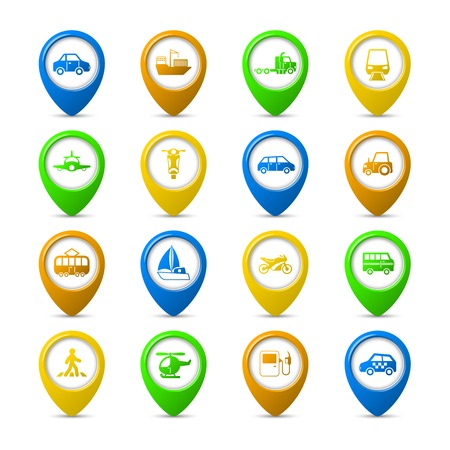Transportation vehicles navigation pins set of tanker container tractor gas station isolated vector illustration Vector