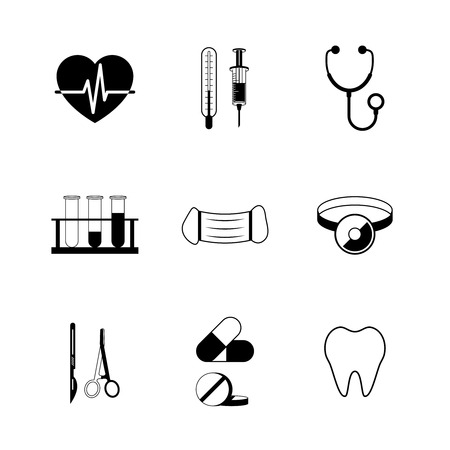 drug user: Medical pictogram collection of tube tooth heart pill isolated vector illustration