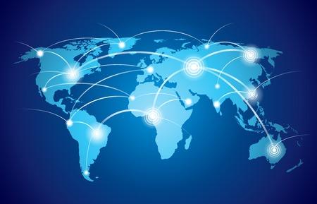 グローバルな技術または社会的な接続ネットワーク ノードおよびリンクのベクトル イラストと世界地図