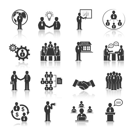 Business people meeting at office conference presentation icons set isolated vector illustration