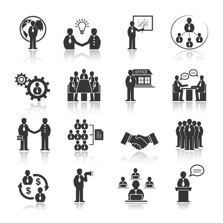 Mensen uit het bedrijfsleven vergadering op kantoor conferentie presentatie pictogrammen set geïsoleerd vector illustratie