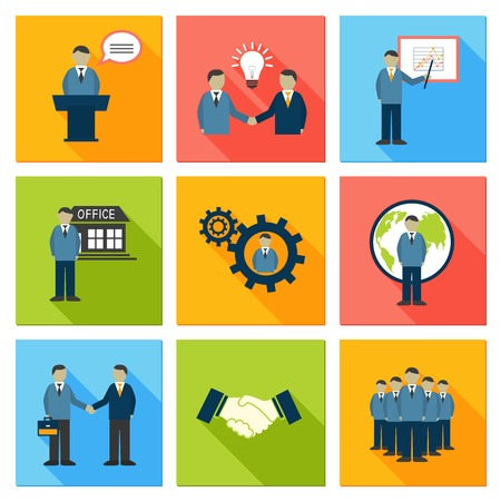 Collection of flat business people meeting at office conference presentation pictograms vector illustration