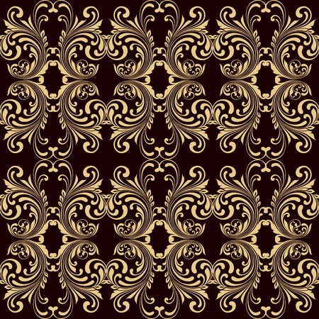 twirls: Horizontal yellow on brown ornamental seamless pattern background vector illustration Illustration