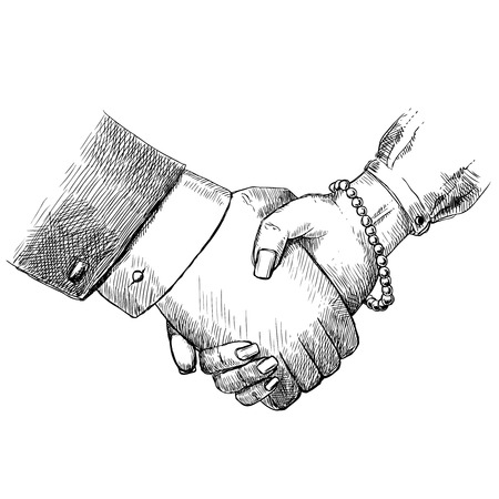 Business handshake man and woman successful teamwork greeting friendship concept isolated vector illustration