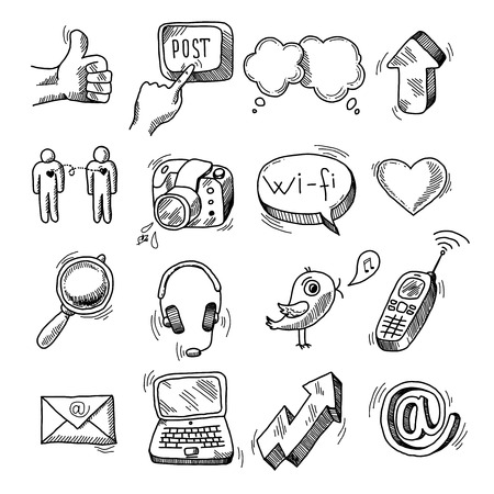 Doodle social icons set of network blogger media marketing isolated vector illustration Vector