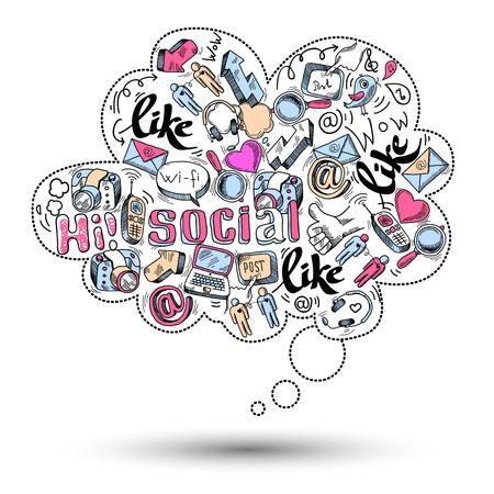 medios de comunicacion: Doodle icono de burbuja de diálogo con la infografía de medios sociales aislados ilustración vectorial