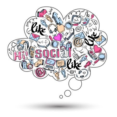 Doodle speech bubble icon with social media infographics isolated vector illustration Vector