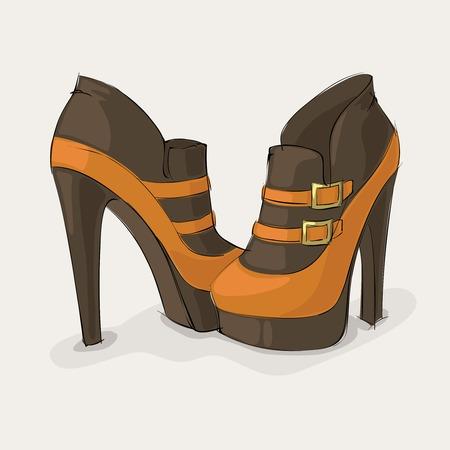 tacones negros: Botines marrones y amarillas de la mujer elegante con hebillas de oro, ilustración vectorial