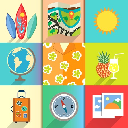 Aloha shirt. Travel and vacation icons set with surfboard photos and martini cocktail vector illustration Vector