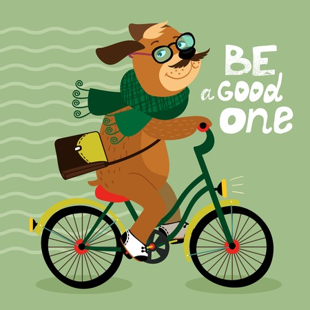 Hipster poster with nerd dog riding bike vector illustration Vector