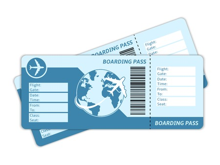Blank plane tickets for business trip travel or vacation journey isolated vector illustration Çizim