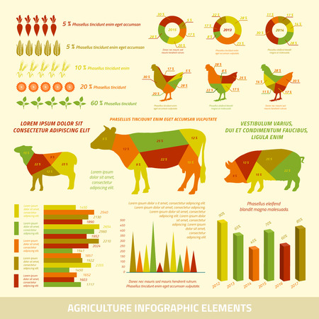 fertilizers: Agriculture infographics flat design elements of livestock chickens and crops vector illustration