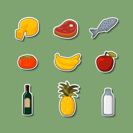Supermarket foods items of meat fish fruits vegetables and drinks on stickers isolated vector illustration Vector