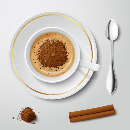 cream filled: Top view on realistic white cup filled with cappuccino decorated by chocolate crumbs vector illustration