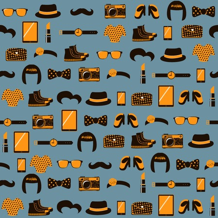Hipster seamless pattern of vintage accessories vector illustration Vector