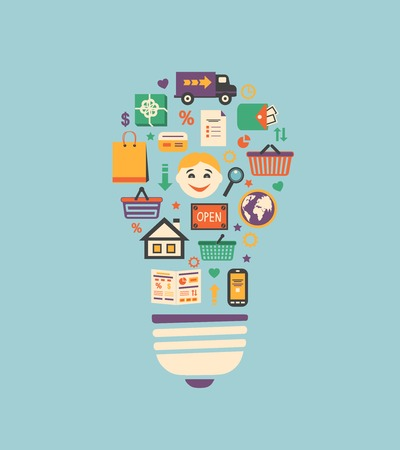 Online shopping innovation idea in flat style vector illustration Vector