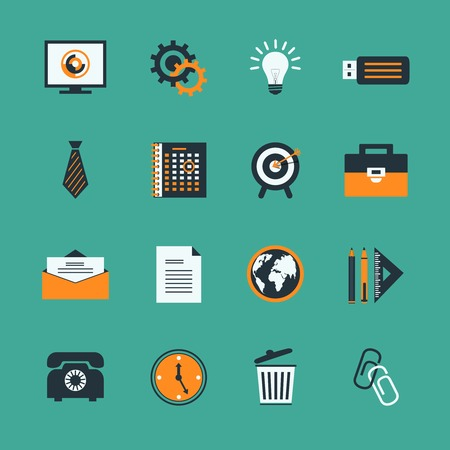 Business office stationery icons set of creative lightbulb phone and target isolated vector illustration