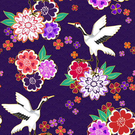 Decorative kimono floral motif pattern with crane and flowers vector illustration