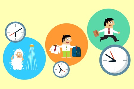 starting a business: Business life. Manager starting his busy workday vector illustration Illustration