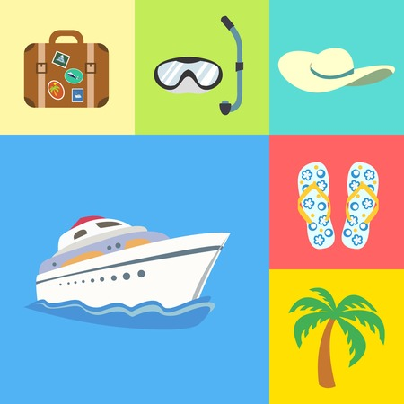 flipflops: Flat vacation holidays and travel icons set of yacht palm tree flip-flops and hat vector illustration Illustration
