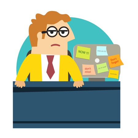 workday: Business life. Worried angry office worker at the desk vector illustration