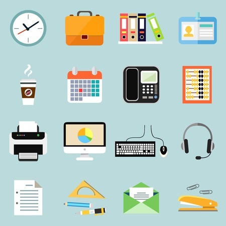 staplers: Business office stationery icons set of phone documents files and clock isolated vector illustration Illustration
