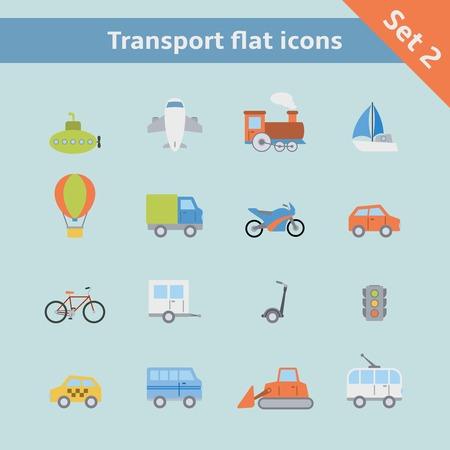 Transportation flat icons set of passenger train tram taxi isolated vector illustration Vector