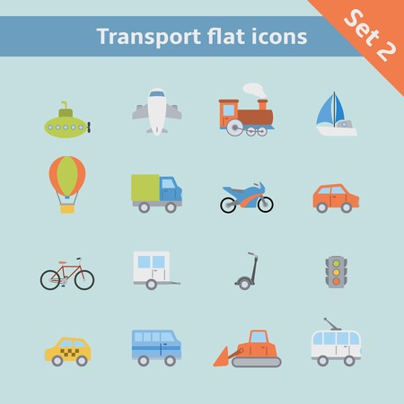 Transportation flat icons set of passenger train tram taxi isolated vector illustration Vector