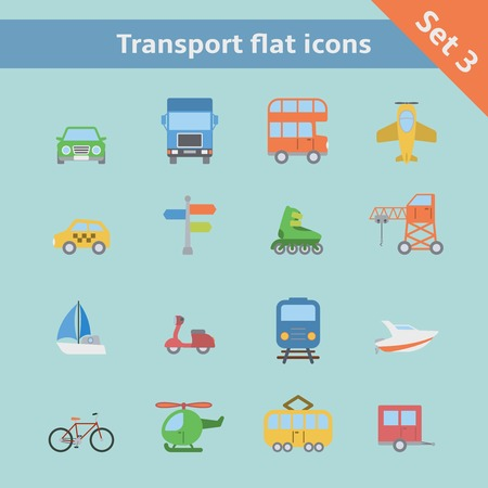 double tap: Transportation flat icons set of aircraft boat yacht helicopter isolated vector illustration Illustration