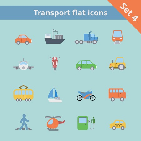 Transportation flat icons set of tanker container tractor gas station isolated vector illustration Vector