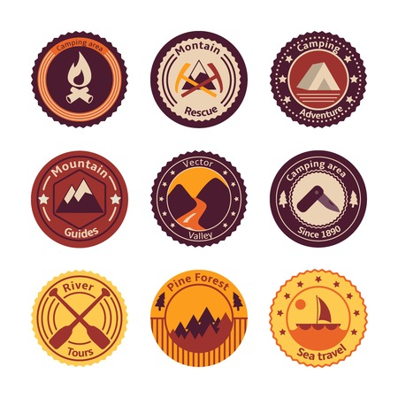 Outdoors tourism camping flat badges set of road mountain tree and nature isolated vector illustration Vector