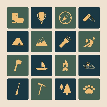 Outdoors tourism camping flat icons set of road mountain tree and nature isolated vector illustration Vector