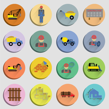 building site: Construction flat icons set of site crane truck and mixer isolated vector illustration