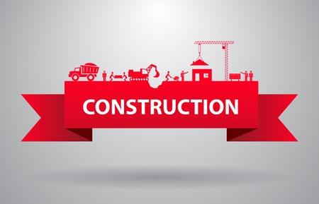construction tools: Bandera roja de la construcción por el título de la infografía o la presentación Ilustración vectorial