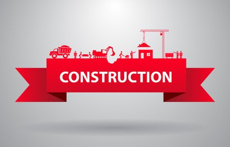 building construction: Red construction banner for infographics title or presentation vector illustration Illustration