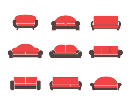 sofa set: Comfortable sofas and couches furniture flat icons set for living room isolated vector illustration Illustration