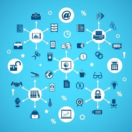articulos oficina: Artículos de oficina de negocios concepto de red con la ilustración papelería vector