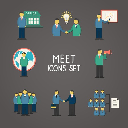 Collection of flat business people meeting infographics design elements for presentation or report vector illustration Vector