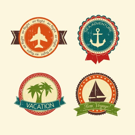Vacations travel badges collection of yacht boat plane palm tree and anchor isolated vector illustration Vector