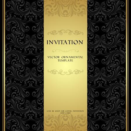 golden texture: Black and gold ornamental pattern invitation card or album cover template vector illustration Illustration