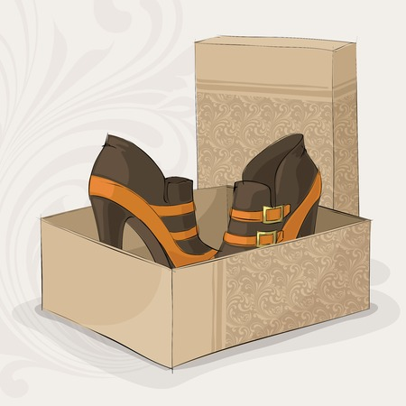buckles: Elegant girls brown and yellow ankle boots with gold buckles in open box vector illustration